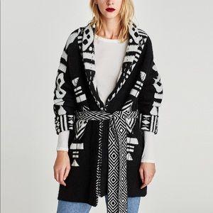 Zara Tribal Aztec Cardigan Sweater Black White